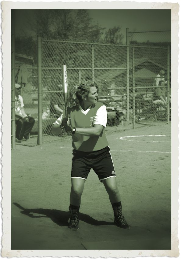 bw vintage look photo, softball batter
